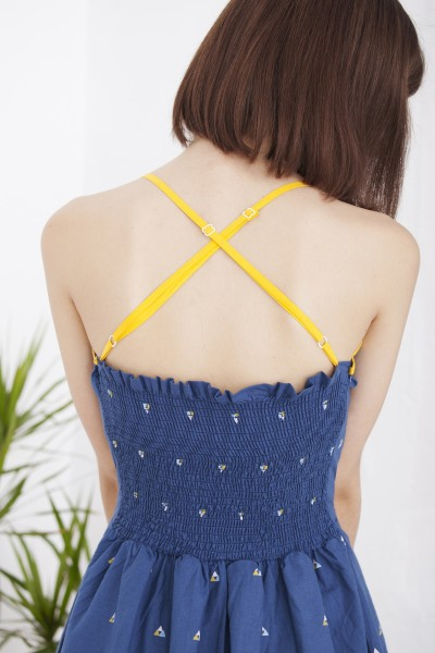 Hilda crossed strapless dress