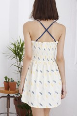 Hilda crossed strapless feather printed dress