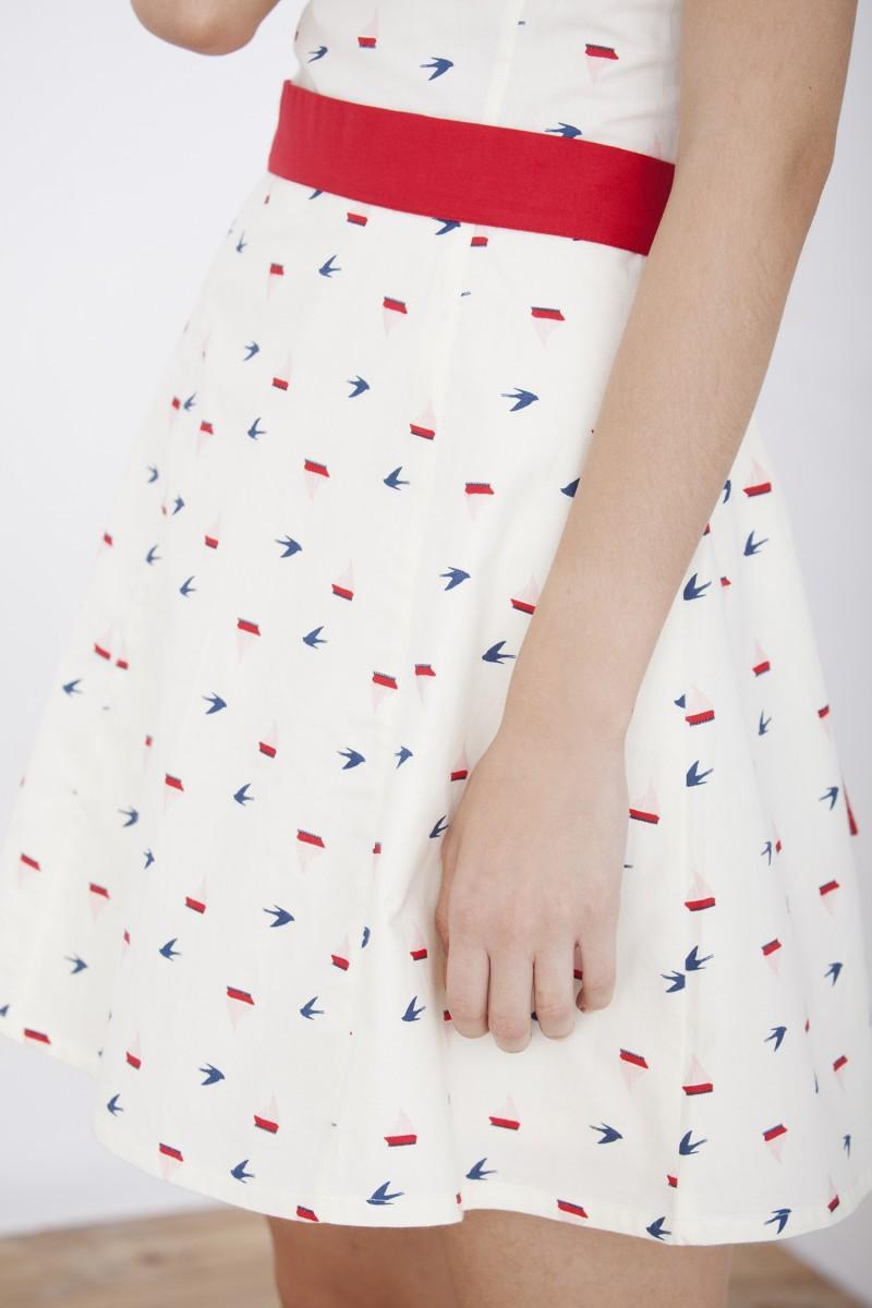 Boat printed strapless neckline Hillary dress