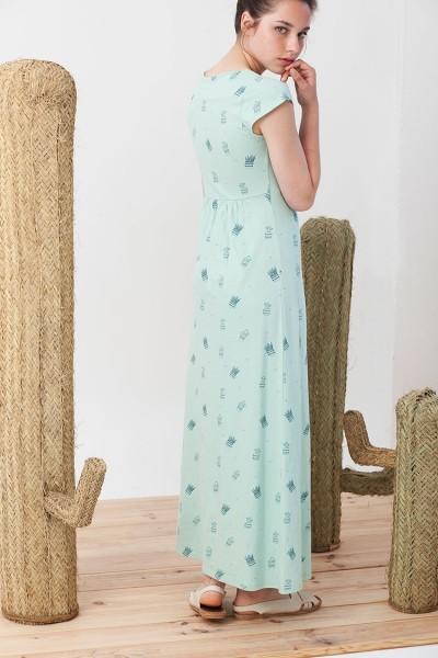 Maxi vestido Irene verde estampado de cactus.