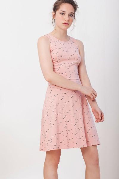 Vestido Ilaria espalda cruzada Ilaria rosa estampado abstracto.