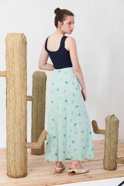 Maxi falda evasé Irma verde estampado cactus.