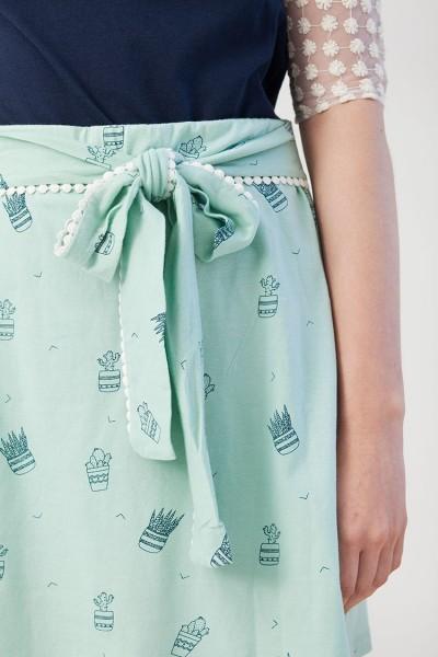 Falda lazo verde Ingrid estampado cactus.