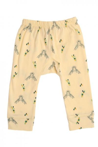 Pantalón bebe amarillo con estampado de ciervos