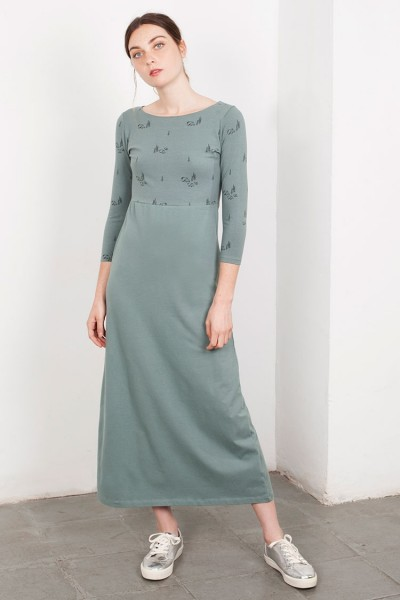 Maxi vestido Lara verde estampado.