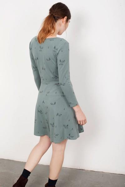 Vestido media capa Lorianne verde estampado