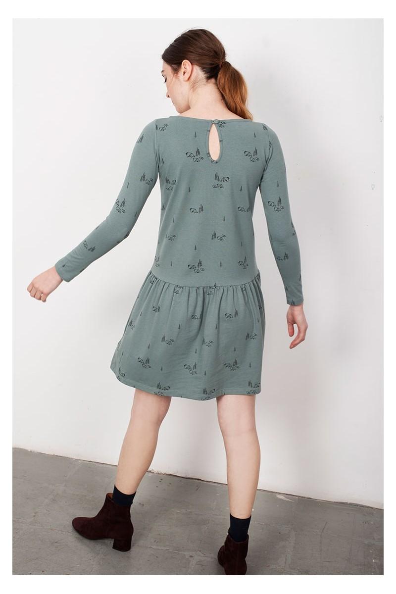 Vestido Charlestón Lindy verde estampado