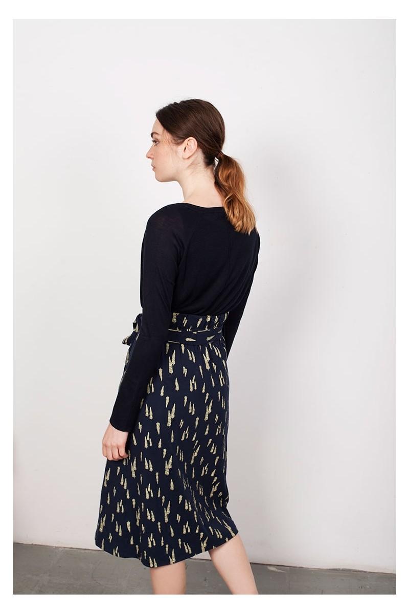 Falda plisada Lamar azul estampado