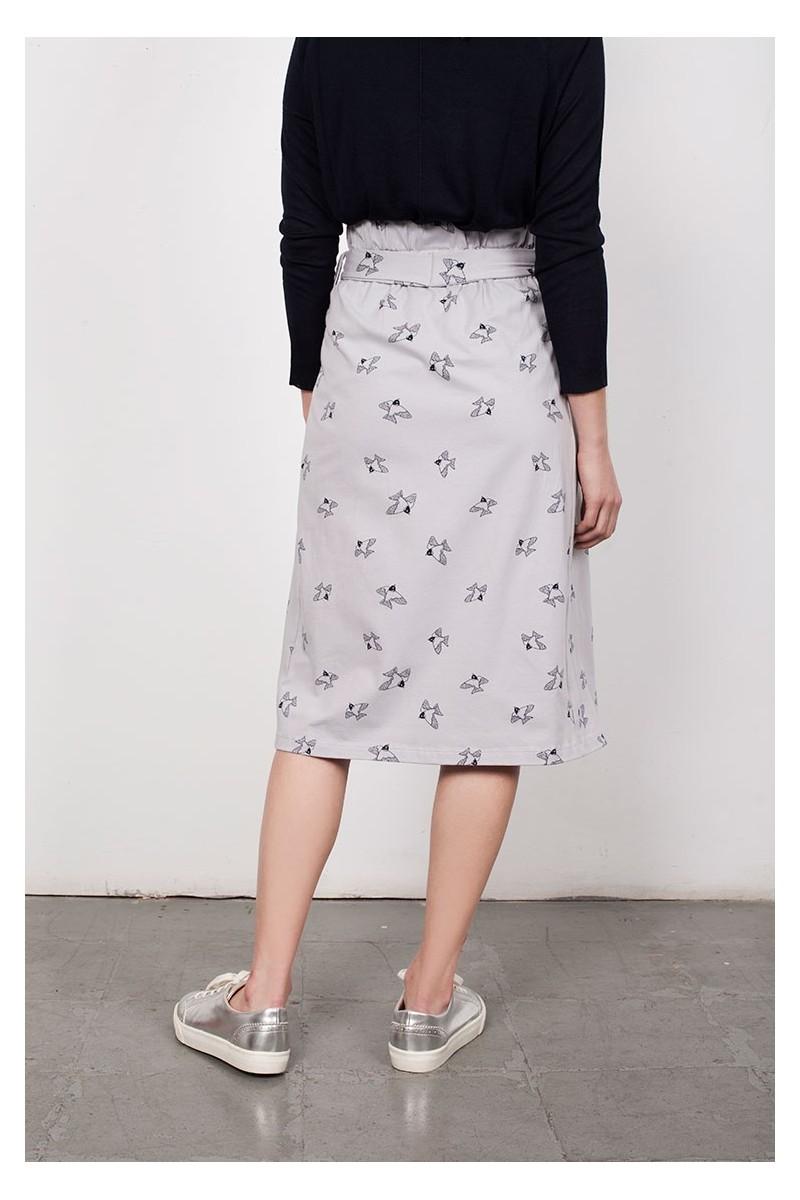 Falda plisada Lamar gris estampado