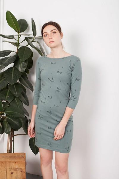 Vestido entallado Leia verde estampado