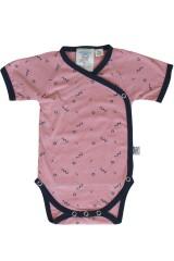 Body kimono rosa con estampado abstracto