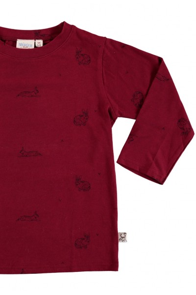 Camiseta manga larga unisex granate