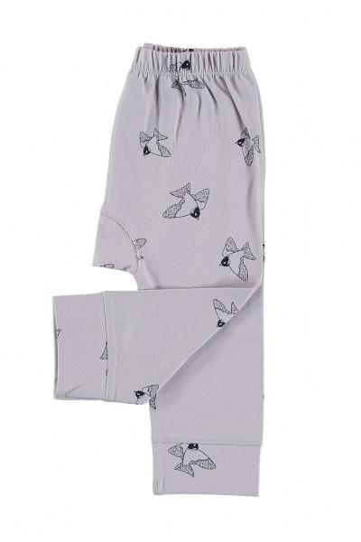 Pantalones bebé gris estampado pájaros de algodón organico