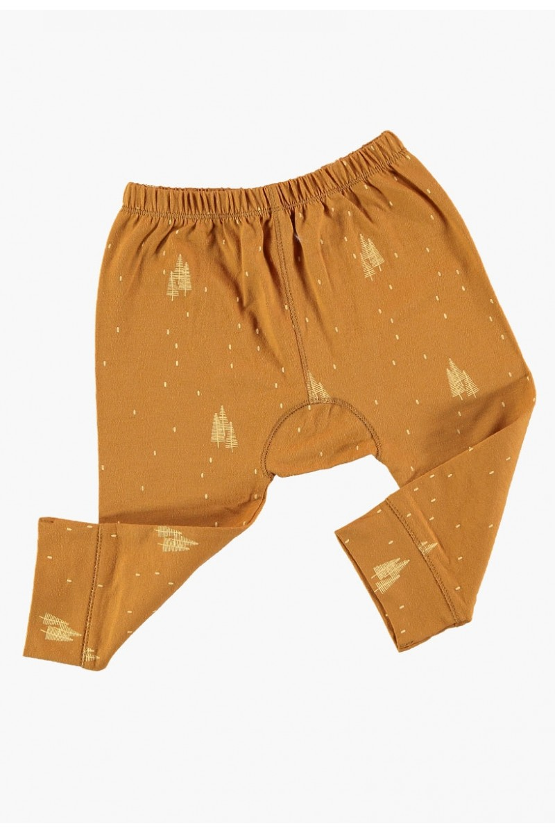 Pantalones de bebé mostaza estampado arboles de algodón organico