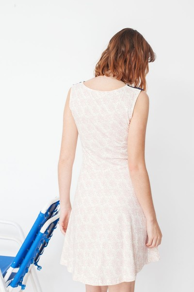 Vestido combinado Maira estampado corales y azul marino de moda sostenible