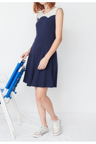 Vestido combinado Maira azul marino y estampado geométrico