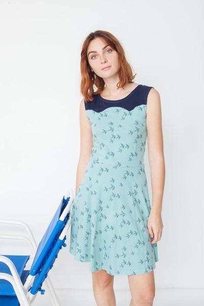 Vestido combinado Maira estampado golondrinas y azul marino