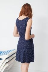 Vestido ecológico Miriam reversible con cuello de solapas y estampado caracolas