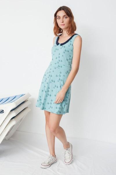 Vestido ecológico Miria reversible m con cuello de solapas y estampado golondrinas