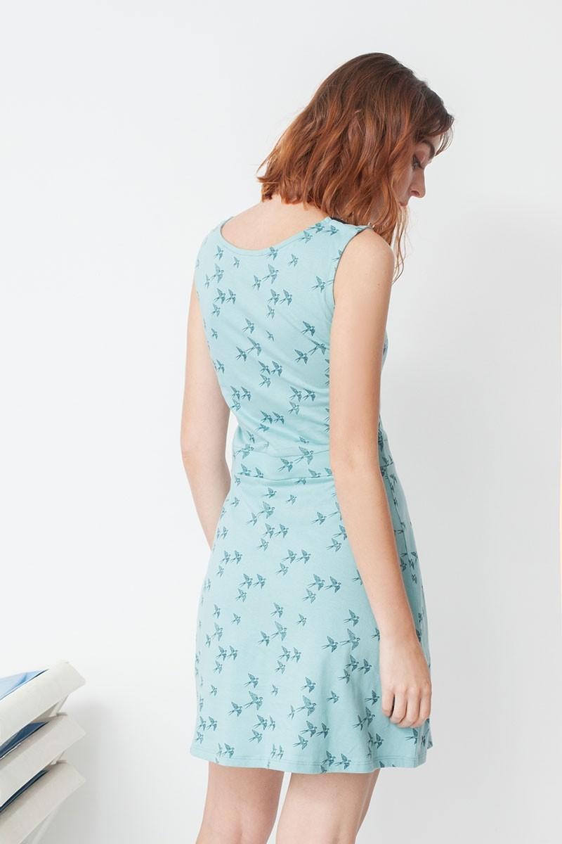 Vestido Miriam con cuello de solapas y estampado golondrinas
