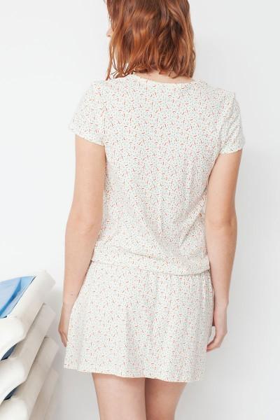 Vestido ecológico Marga con cinturón y estampado geométrico