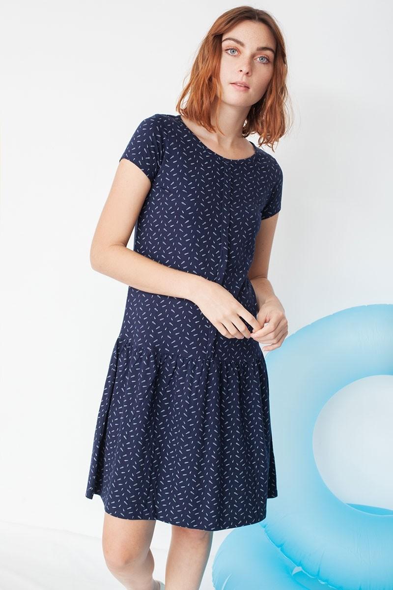Vestido ecológico Miranda tipo charlestón en estampado caracolas