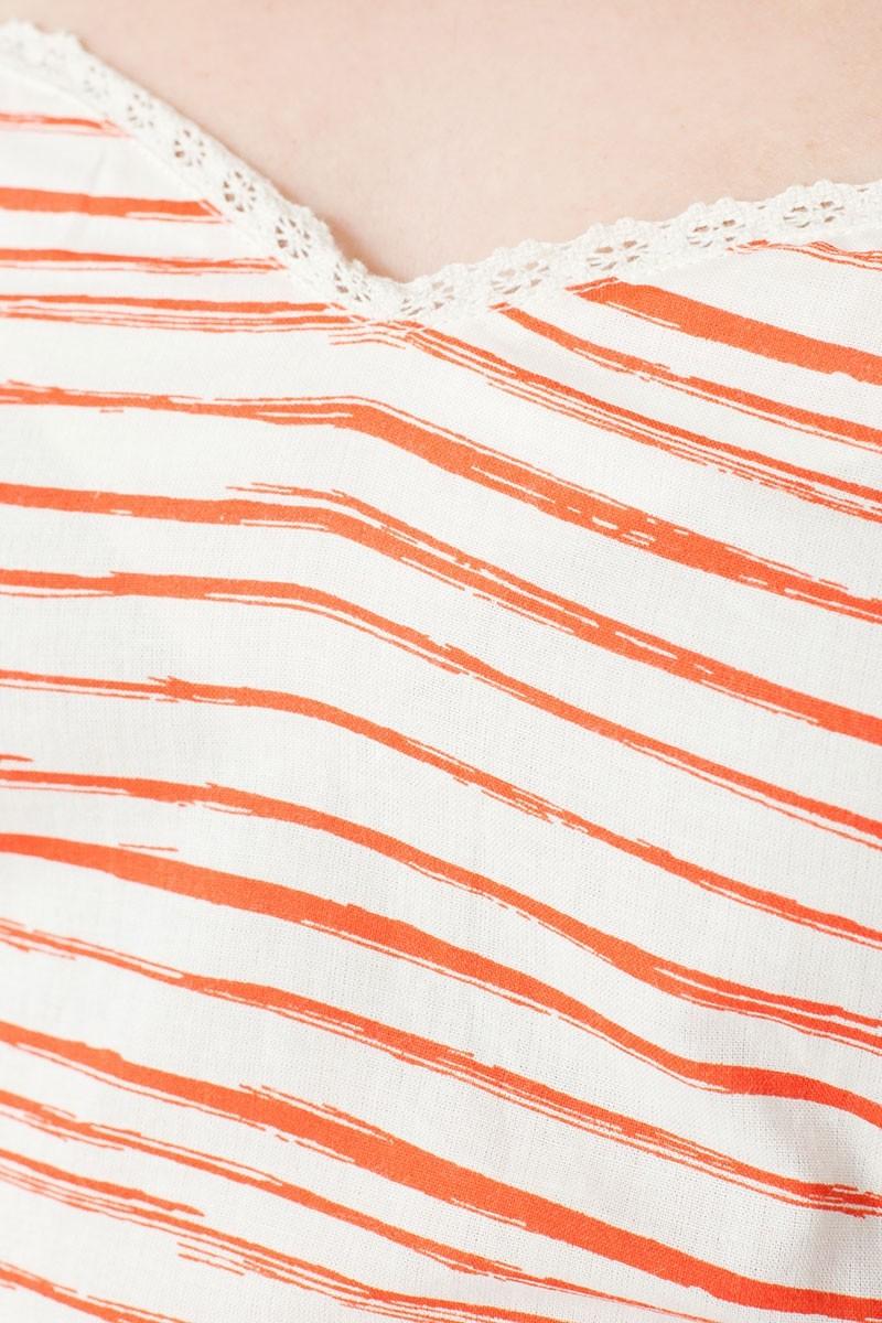Vestido ecológico Micaela con escote corazón y estampado rayas marineras