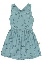 Vestido espalda cruzada azul con estampado golondrinas