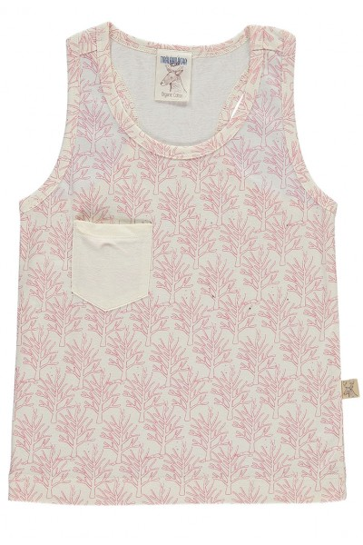 Camiseta de tirantes con bolsillo salmón estampado corales