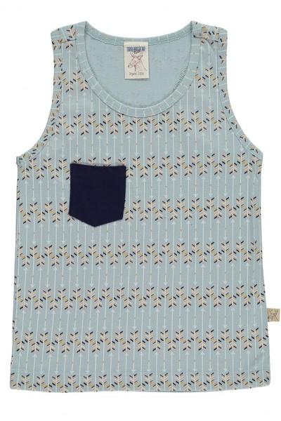 Camiseta de tirantes con bolsillo azul estampado flechas