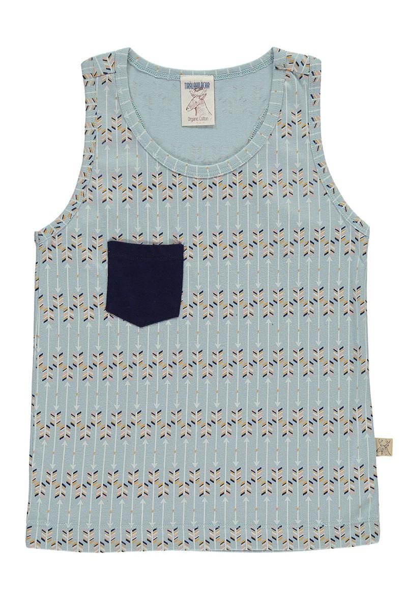 Camiseta sin mangas con bolsillo azul estampado flechas