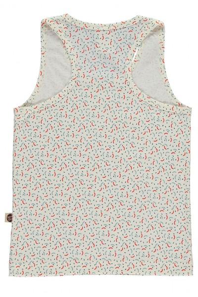 Camiseta sin mangas con bolsillo y estampado geométrico