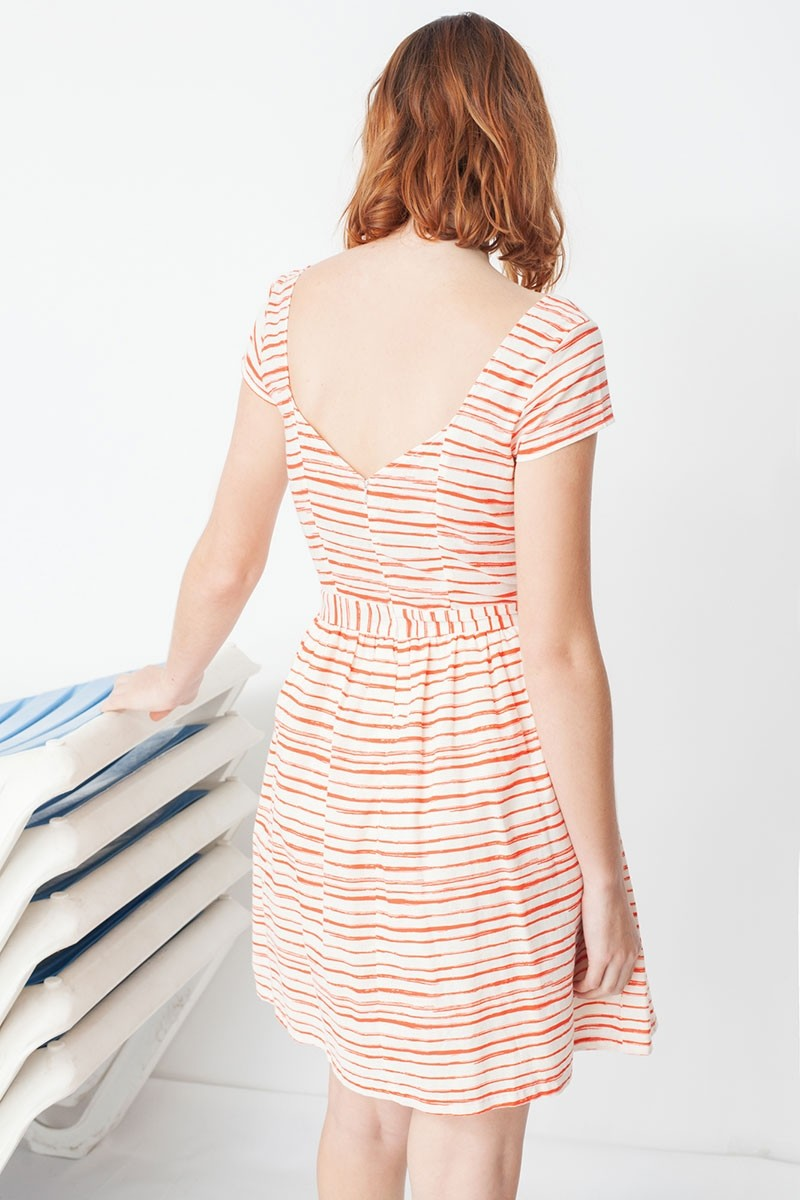 Milena back neckline with red stripes print