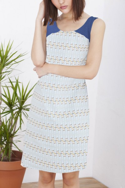 Blue light blue back crossed Hela dress