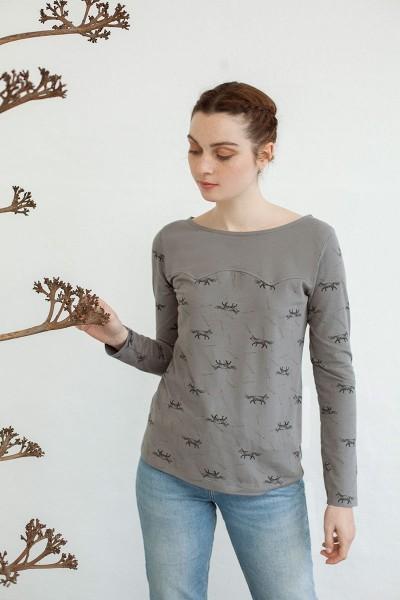 Camiseta canesú Nina estampado zorros.
