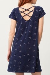 Vestido Paloma evasé azul marino estampado origami