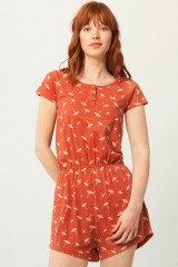 Pia jumpsuit in terracotta and unbrella print