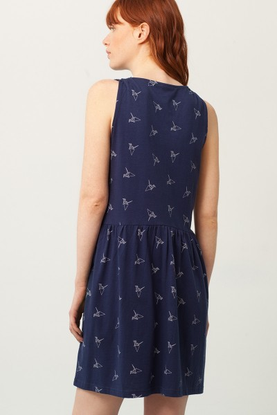 Vestido Paula escote V azul marino estampado origami