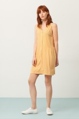 Paula V-neck dress in yellow and japanese print
