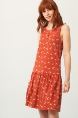 Penelope Charleston dress in terracotta and umbrella print