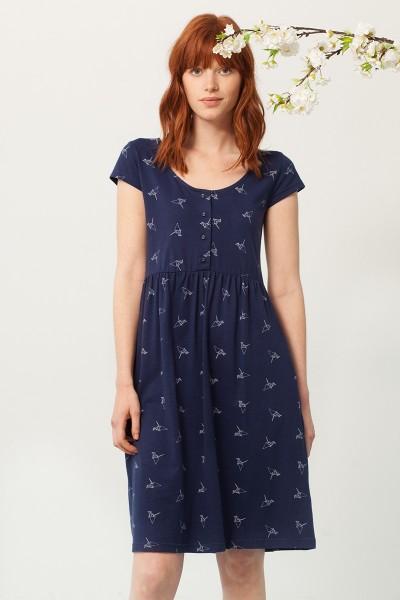 Paz cross back neckline dress in navy blue and origami print