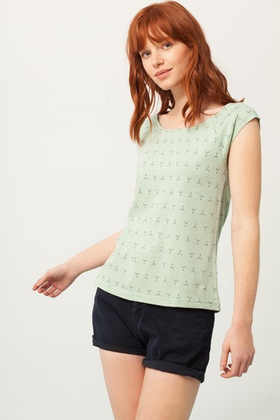 Paola rounded neck t-shirt in mint green and abstract print