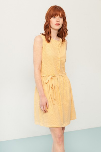 Petra belt dress in yellow and japanese fan print