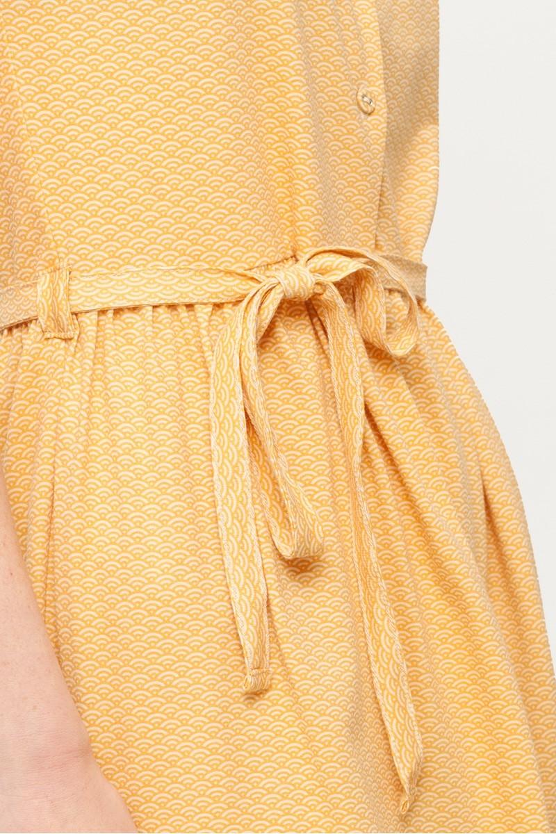 Vestido Petra color miel y estampado abanicos japoneses