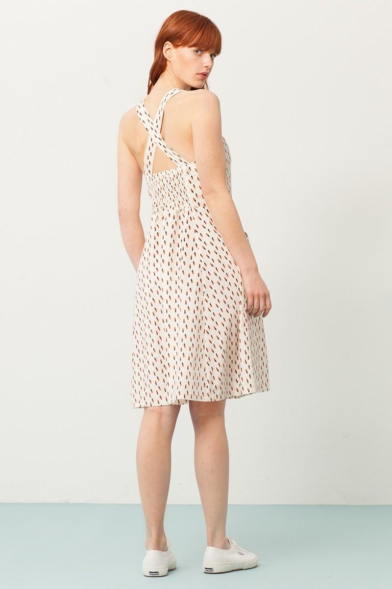 Vestido Prunella cruzado crudo estampado abstracto