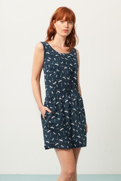 Vestido Padme escote espalda azul marino estampado libélulas