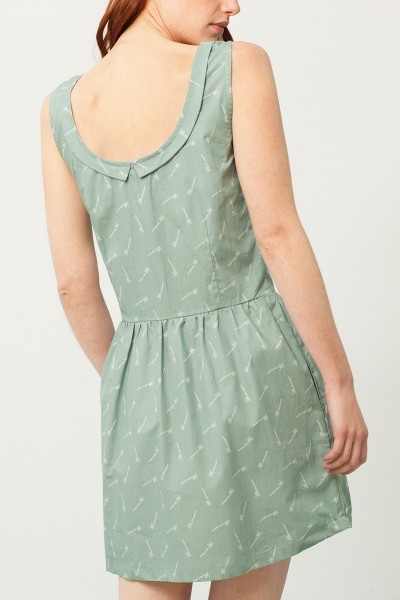 Padme back neckline dress in green and bambu print