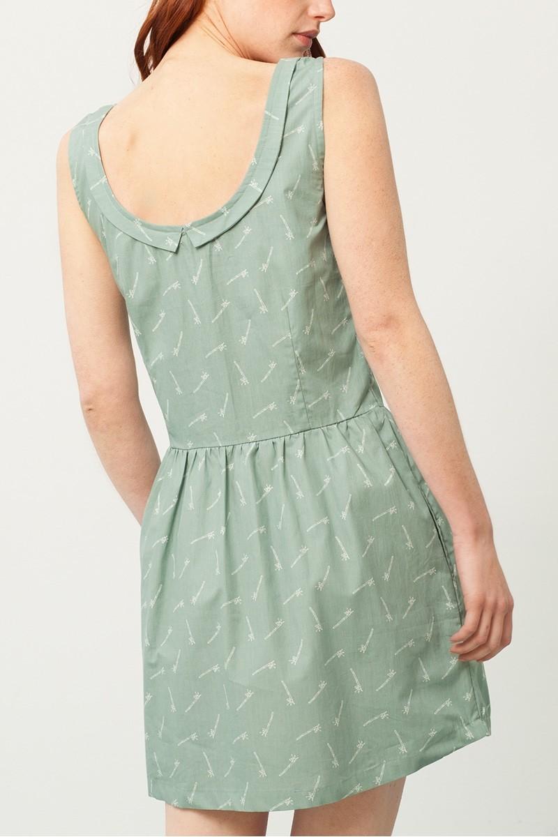 Vestido Padme escote espalda verde estampado bambú