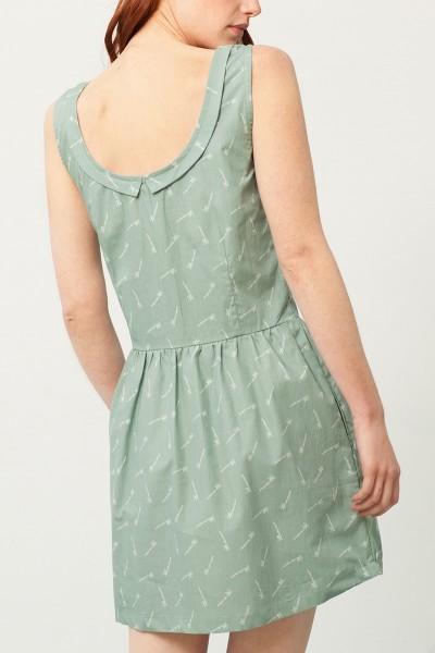 Padme back neckline dress in green and bambu print