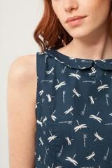 Vestido Pearle cuello Peter Pan azul marino estampado libélulas